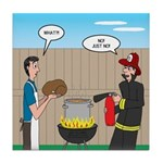 Unsafe Turkey Frying Tile Coaster