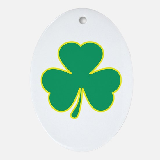 Shamrock Yellow Frame Oval Ornament