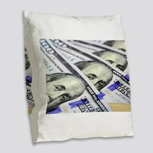 US Currency One Hundred Dollar Burlap Throw Pillow