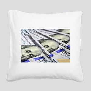 US Currency One Hundred Dolla Square Canvas Pillow