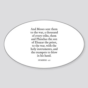 NUMBERS 31:6 Oval Sticker