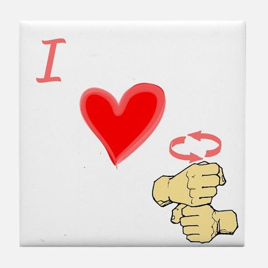 I Love Coffee in ASL Tile Coaster