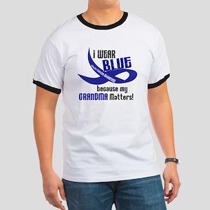 I Wear Blue For My Grandma 33 CC Ringer T