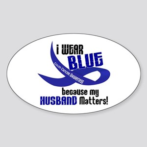 I Wear Blue For My Husband 33 CC Oval Sticker