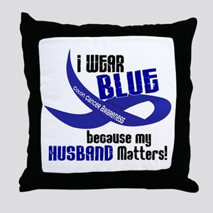 I Wear Blue For My Husband 33 CC Throw Pillow