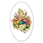 Springtime Easter Basket Oval Sticker