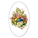 Springtime Easter Basket Oval Sticker (50 pk)