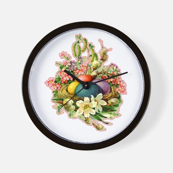 Springtime Easter Basket Wall Clock