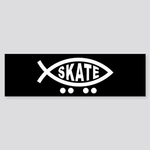 Skating Fish Sticker (black) (Bumper)