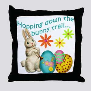 Hopping Down the Bunny Trail Throw Pillow