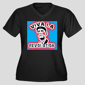 Vivala Obama Women's Plus Size V-Neck Dark T-Shirt