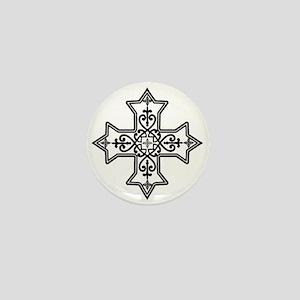 Black and White Coptic Cross Mini Button