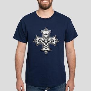 Black and White Coptic Cross Dark T-Shirt
