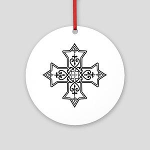 Black and White Coptic Cross Ornament (Round)