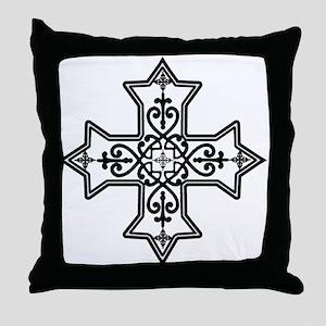 Black and White Coptic Cross Throw Pillow