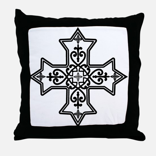 Black and White Coptic Cross Throw Pillow