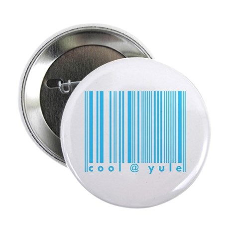 Cool @ Yule Blue Barcode Button