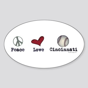oddFrogg Peace Love Cincinnati Bumper Sticker