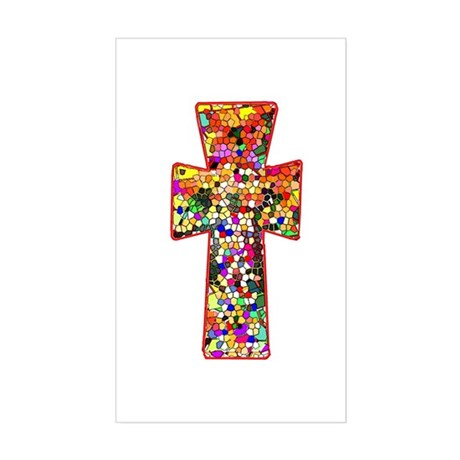 Pretty Stained Glass Look Cross Sticker (Rectangle