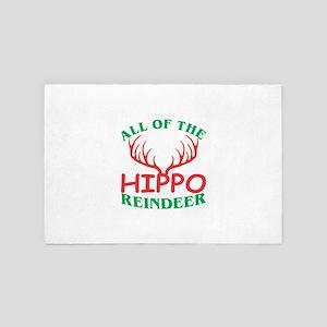 All Of The Hippo Reindeer Christmas Xm 4' x 6' Rug
