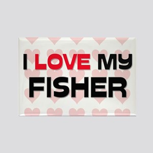 I Love My Fisher Rectangle Magnet