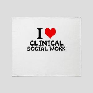 I Love Clinical Social Work Throw Blanket