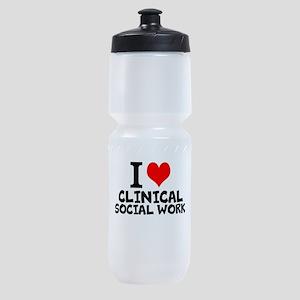 I Love Clinical Social Work Sports Bottle