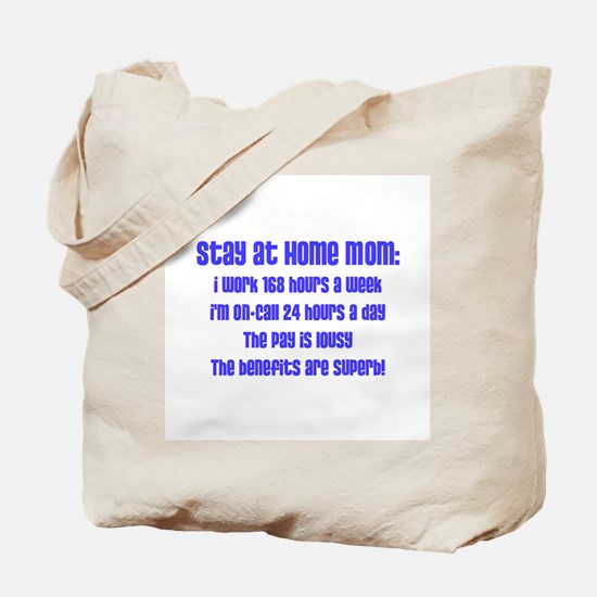 Stay at Home Mom Blue Print Tote Bag