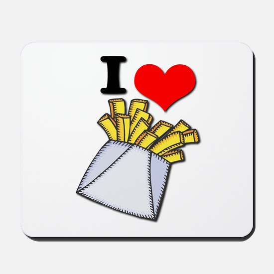 I Heart (love) French Fries Mousepad