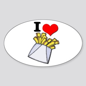 I Heart (love) French Fries Oval Sticker