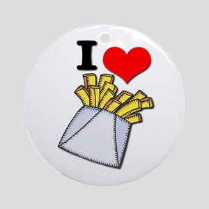 I Heart (love) French Fries Ornament (Round)