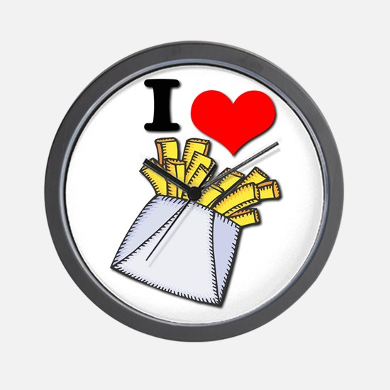 I Heart (love) French Fries Wall Clock