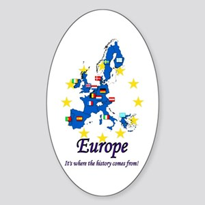 "European ""History"" Oval Sticker"
