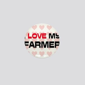 I Love My Farmer Mini Button