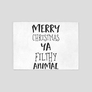 merry christmas ya filthy animal 5'x7'Area Rug
