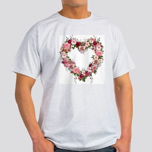 Floral Heart Ash Grey T-Shirt