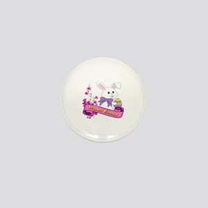 White Easter Bunny Banner Mini Button