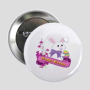 "White Easter Bunny Banner 2.25"" Button"