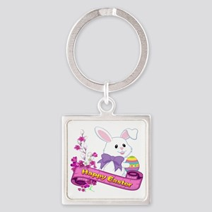 White Easter Bunny Banner Keychains