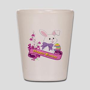 White Easter Bunny Banner Shot Glass