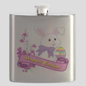 White Easter Bunny Banner Flask