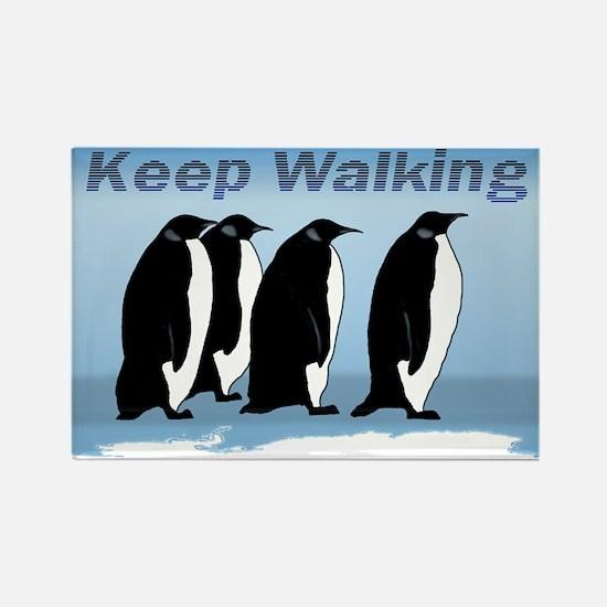 Penguin Walking Rectangle Magnet