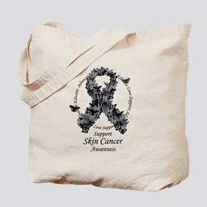 Skin Cancer Butterfly Ribbon Tote Bag