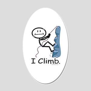 Rock Climbing Stick Figure 20x12 Oval Wall Decal