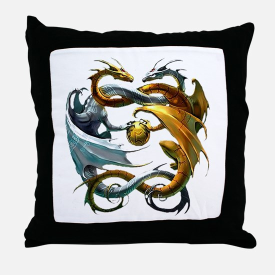Battle Dragons Throw Pillow