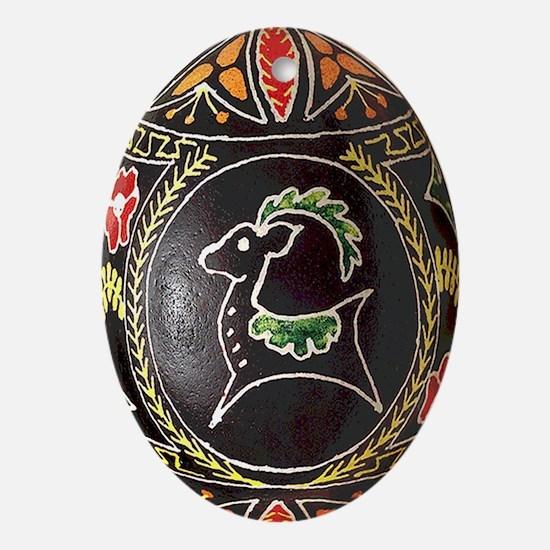 Pretty Oval Pysanka Flat Ceramic Oval Ornament