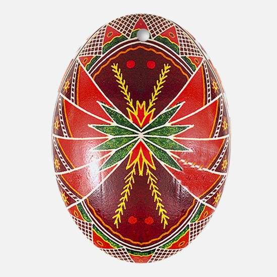 Gorgeous Jewel Tone Pysanka Ornament (oval)