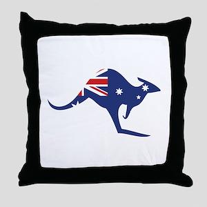australian flag kangaroo Throw Pillow
