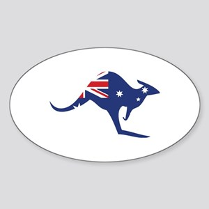 australian flag kangaroo Oval Sticker
