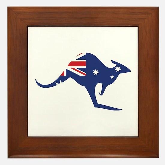 australian flag kangaroo Framed Tile